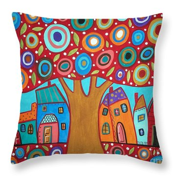 Red Tree Throw Pillow by Karla Gerard