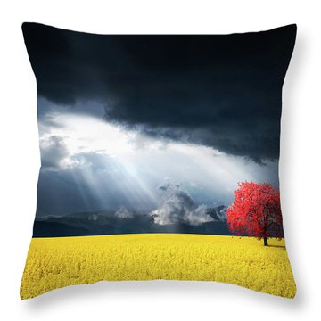 Red Tree On Canola Meadow Throw Pillow