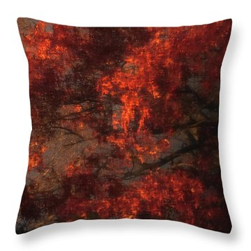Red Tree Scene Throw Pillow by Mikki Cucuzzo