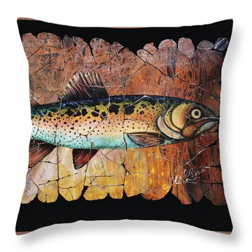 Red Trout Fresco Throw Pillow