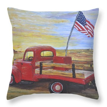 Throw Pillow featuring the painting Red Truck by Debbie Baker