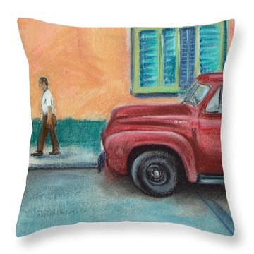 Red Truck Parked Throw Pillow