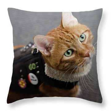 Red Tubby Cat Tabasco Jacket Throw Pillow