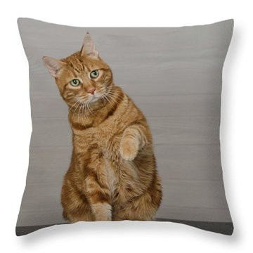 Red Tubby Cat Tabasco Waiving Throw Pillow