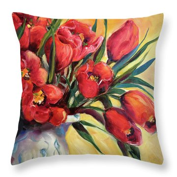 Red Tulip Kiss Throw Pillow