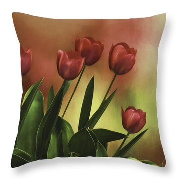 Throw Pillow featuring the photograph Red Tulips by Diane Schuster