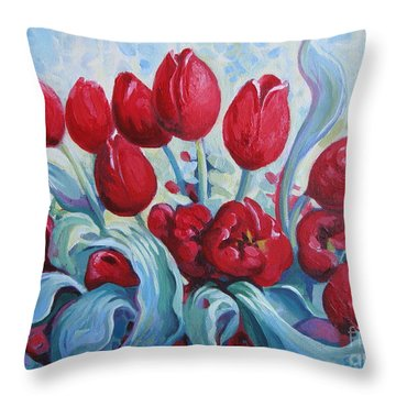 Throw Pillow featuring the painting Red Tulips by Elena Oleniuc