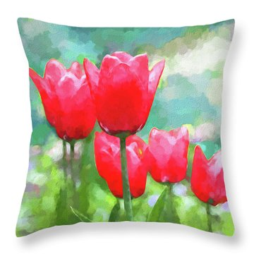 Throw Pillow featuring the photograph Red Tulips Flowers In Spring Time by Jennie Marie Schell