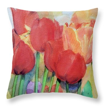 Watercolor Of Blooming Red Tulips In Spring Throw Pillow