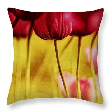 Red Tulips Throw Pillow by Iris Greenwell