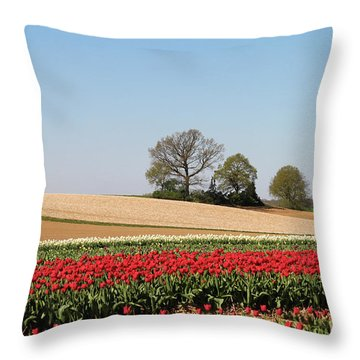 Red Tulips Landscape Throw Pillow