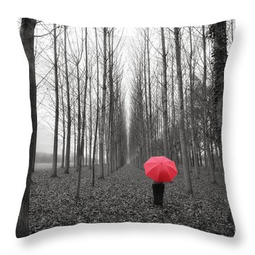 Red Umbrella In An Allee Throw Pillow