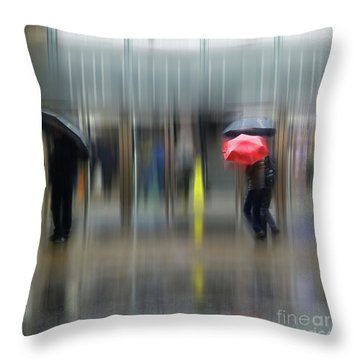 Throw Pillow featuring the photograph Red Umbrella by LemonArt Photography
