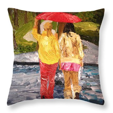 Red Umbrella Throw Pillow by Michael Lee