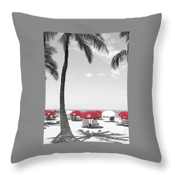 Throw Pillow featuring the photograph Red Umbrellas On Waikiki Beach Hawaii by Kerri Ligatich