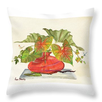 Throw Pillow featuring the painting Red Vase by Anne Beverley-Stamps