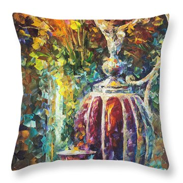 Red Vase Throw Pillow by Leonid Afremov