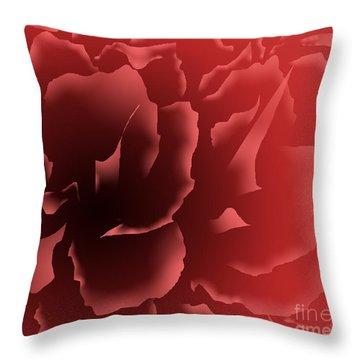 Red Velvet Peony Throw Pillow