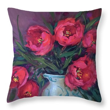 Red Velvet Tulips Throw Pillow by Nancy Medina