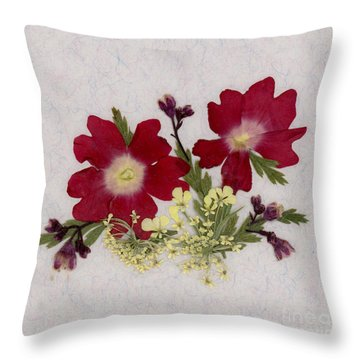 Red Verbena Pressed Flower Arrangement Throw Pillow