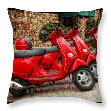 Red Vespas Throw Pillow by Mauro Celotti