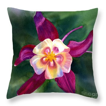 Red Violet Columbine Blossom Square Design Throw Pillow