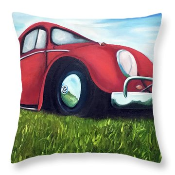 Red Vw Throw Pillow