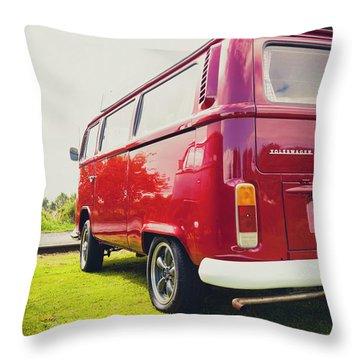 Red Vw T2 Camper Van Rear View Throw Pillow