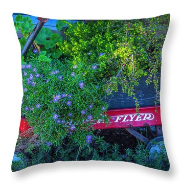 Red Wagon In The Garden Throw Pillow