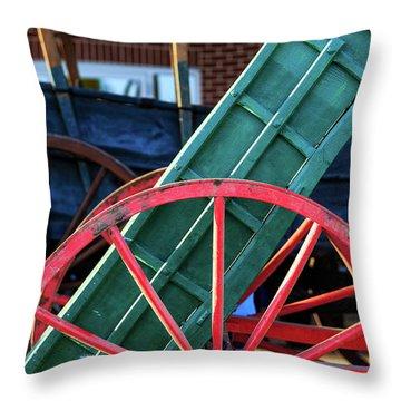 Red Wagon Wheel Throw Pillow