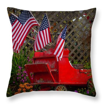 Red Wagon With Flags Throw Pillow