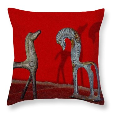 Throw Pillow featuring the digital art Red Wall Horse Statues by Jana Russon