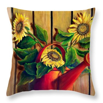 Red Watering Can With  Sunflowers.  Sold Throw Pillow