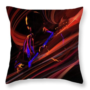 Red Waves Of Blues Throw Pillow