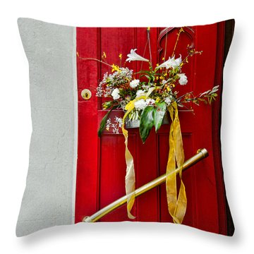 Red Welcome Throw Pillow by Christopher Holmes