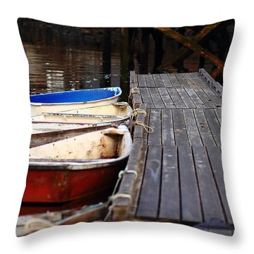 Red, White, And Blue Dingys Throw Pillow