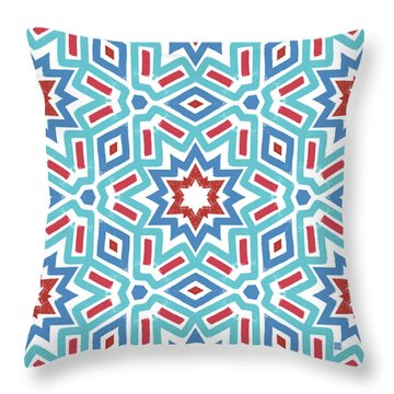 Red White And Blue Fireworks Pattern- Art By Linda Woods Throw Pillow