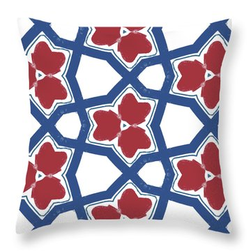 Red White And Blue Floral Motif- Art By Linda Woods Throw Pillow