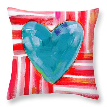 Red White And Blue Love- Art By Linda Woods Throw Pillow