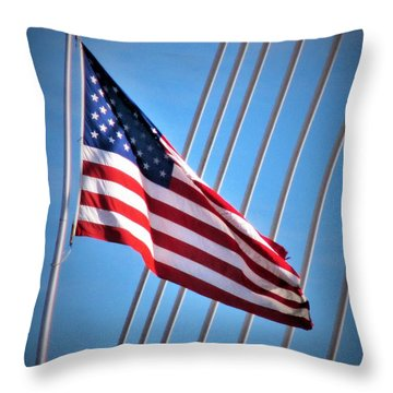 Red, White And Blue Throw Pillow by Martin Cline
