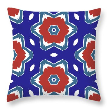 Red White And Blue Star Flowers 2 - Pattern Art By Linda Woods Throw Pillow