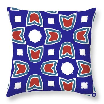 Red White And Blue Tulips Pattern- Art By Linda Woods Throw Pillow