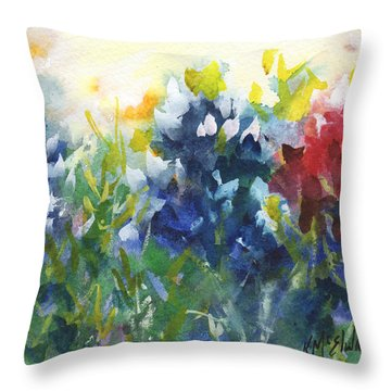 Red White And Bluebonnets Watercolor Painting By Kmcelwaine Throw Pillow