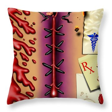 Red White And Bruised I Throw Pillow