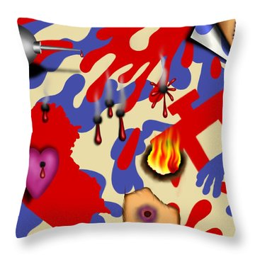 Red White And Bruised II Throw Pillow