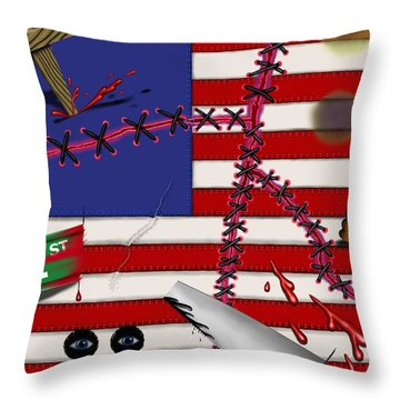 Red White And Bruised IIi Throw Pillow