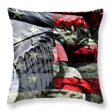 Red White And Jeep Throw Pillow