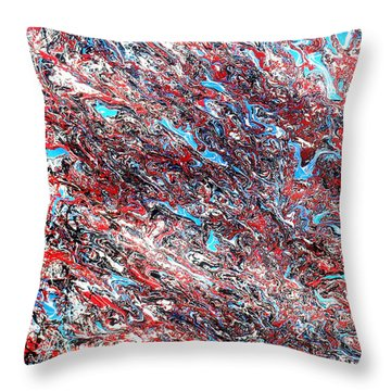 Throw Pillow featuring the painting Red White Blue And Black Drip Abstract by Genevieve Esson