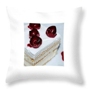 Red-white Cubes Throw Pillow by Marija Djedovic