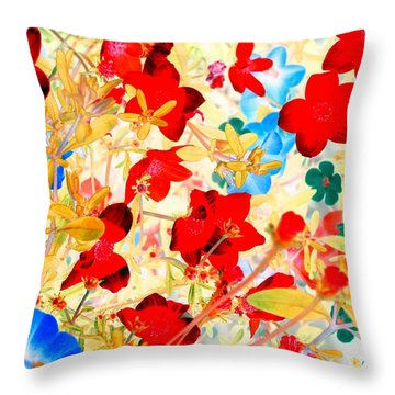 Throw Pillow featuring the photograph Red Wild Flowers by Marianne Dow